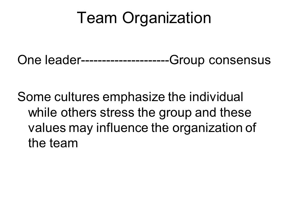 Team Organization One leader---------------------Group consensus