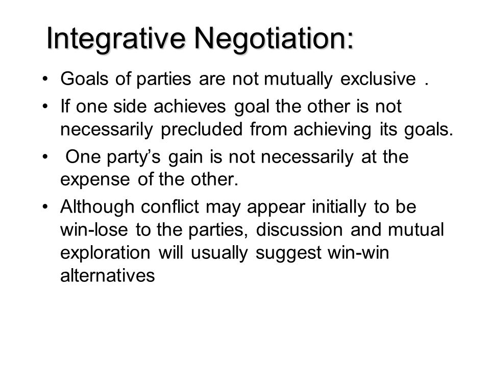 Integrative Negotiation: