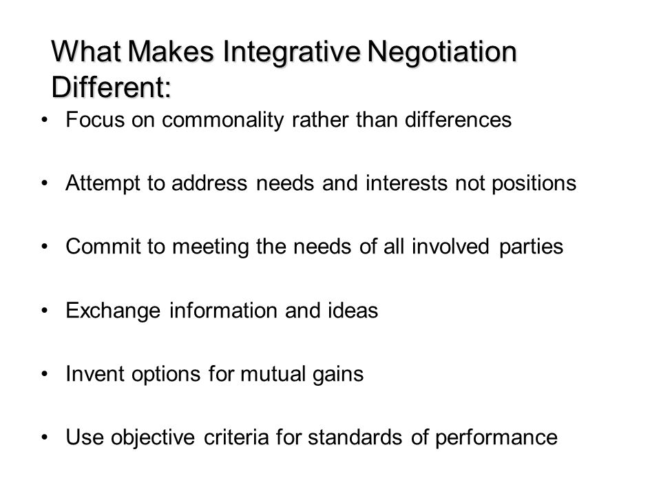 What Makes Integrative Negotiation Different: