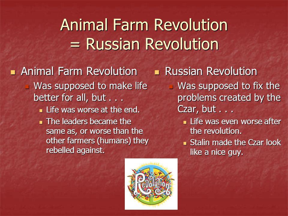Animal Farm Revolution = Russian Revolution