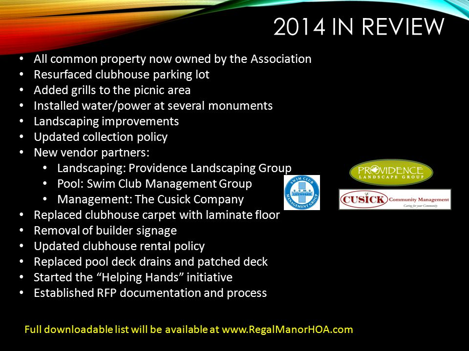 2014 In Review All common property now owned by the Association