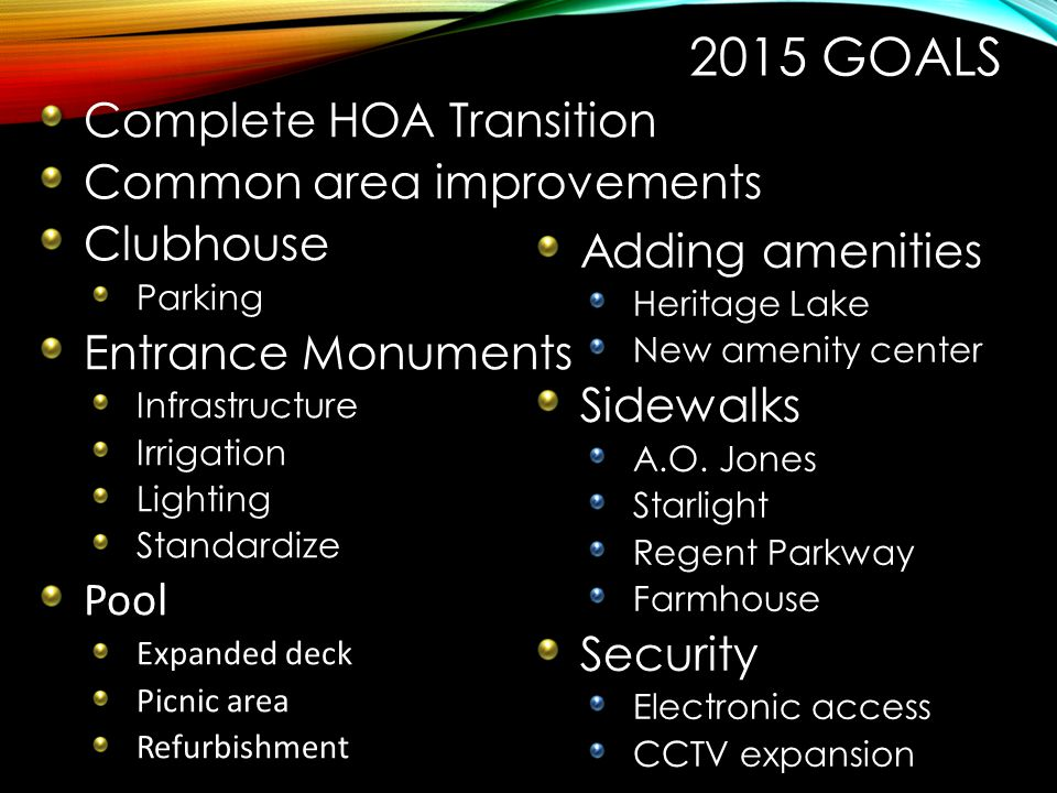 2015 Goals Complete HOA Transition Common area improvements Clubhouse
