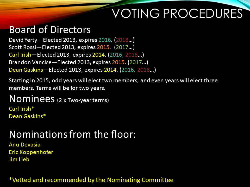 Voting procedures Board of Directors Nominees (2 x Two-year terms)