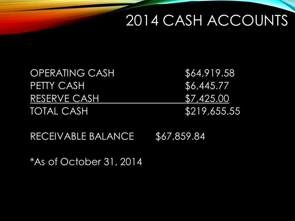 2014 CASH ACCOUNTS