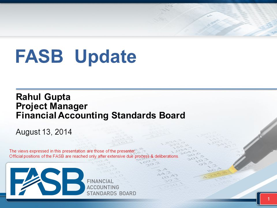 FASB Update Rahul Gupta Project Manager