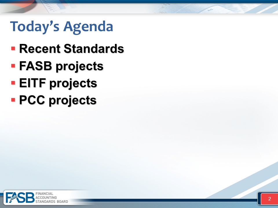 Today's Agenda Recent Standards FASB projects EITF projects