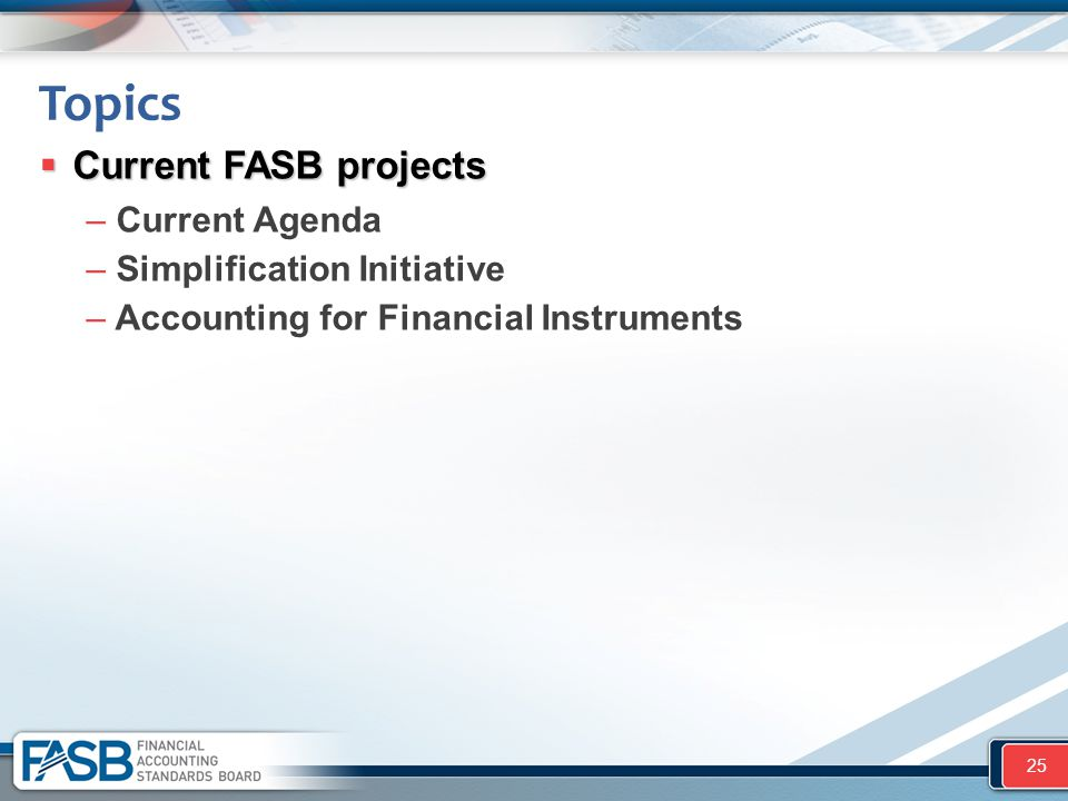 Topics Current FASB projects Current Agenda Simplification Initiative