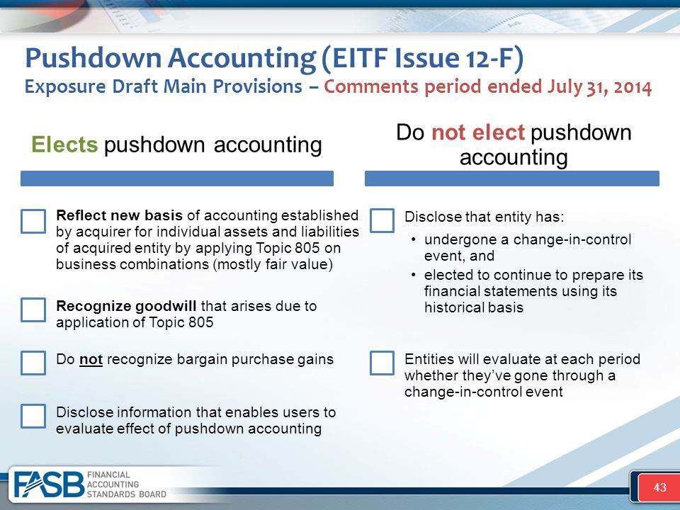 Pushdown Accounting (EITF Issue 12-F) Exposure Draft Main Provisions – Comments period ended July 31, 2014