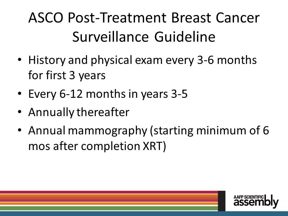 ASCO Post-Treatment Breast Cancer Surveillance Guideline