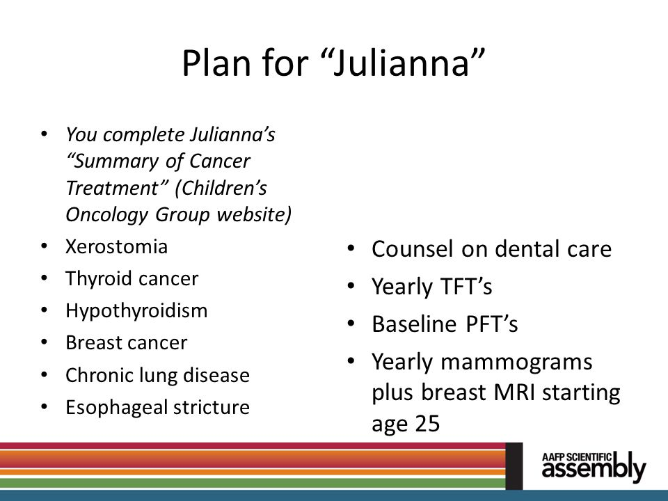 Plan for Julianna Counsel on dental care Yearly TFT's Baseline PFT's