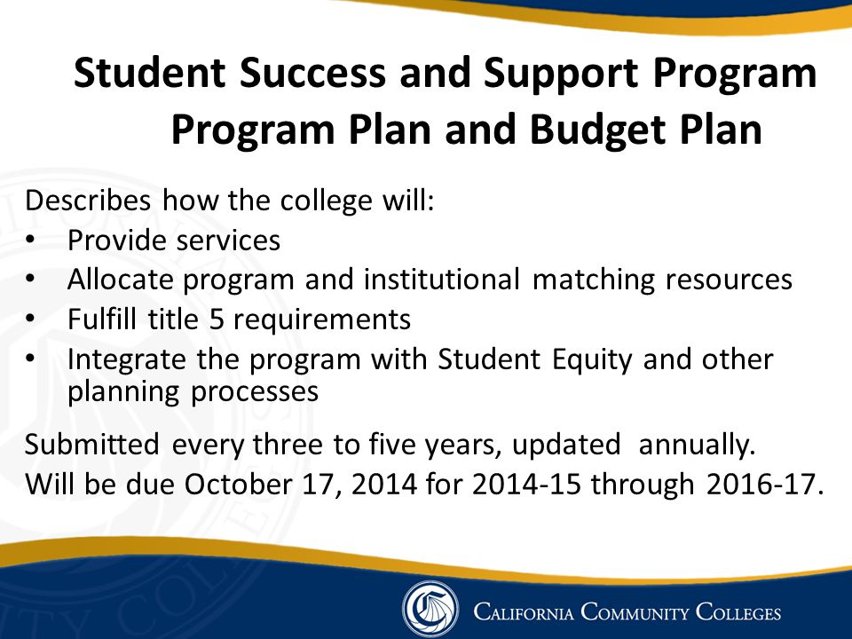 Student Success and Support Program Program Plan and Budget Plan