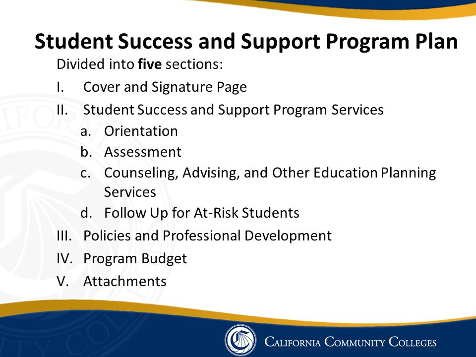 Student Success and Support Program Plan