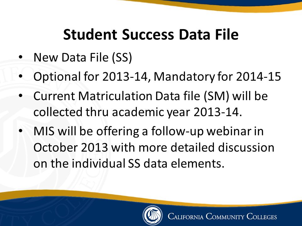 Student Success Data File