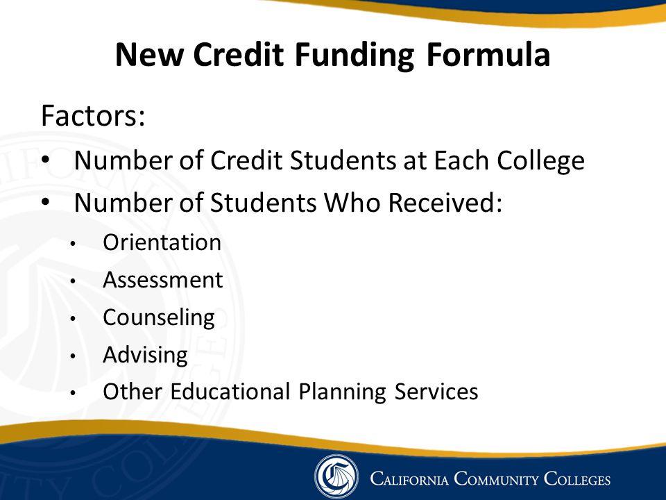 New Credit Funding Formula