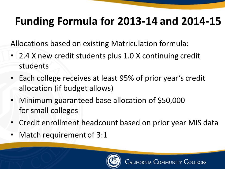 Funding Formula for 2013-14 and 2014-15