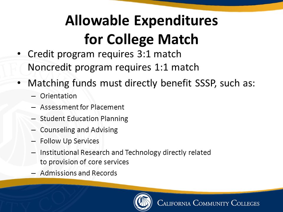 Allowable Expenditures for College Match