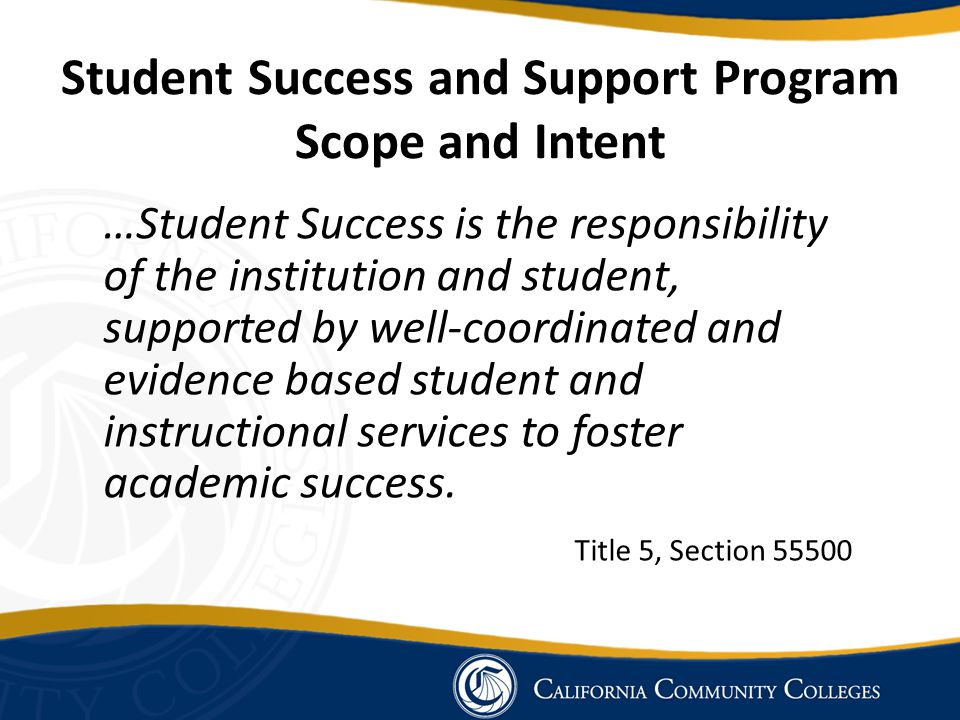 Student Success and Support Program Scope and Intent