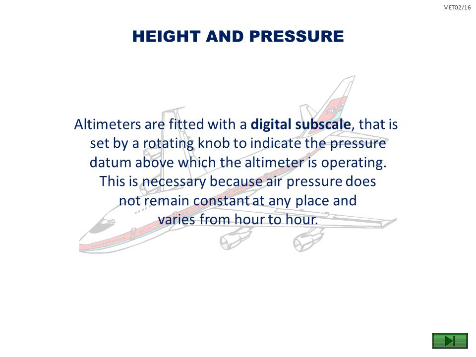Altimeters are fitted with a digital subscale, that is
