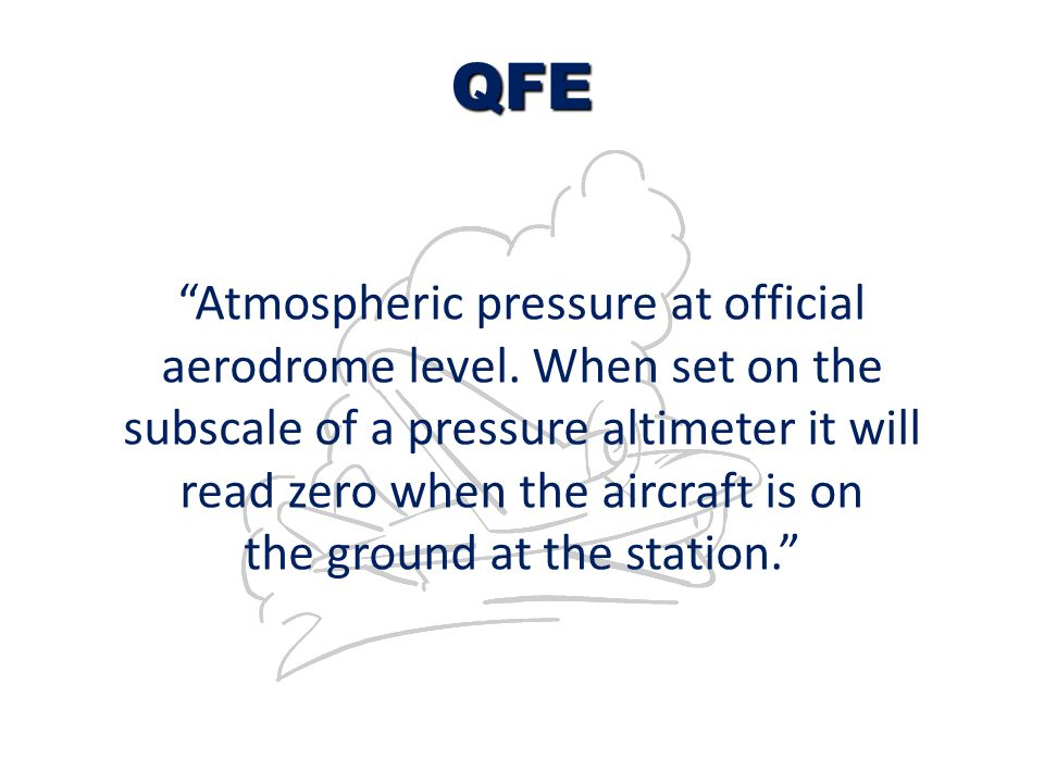 QFE Atmospheric pressure at official aerodrome level. When set on the
