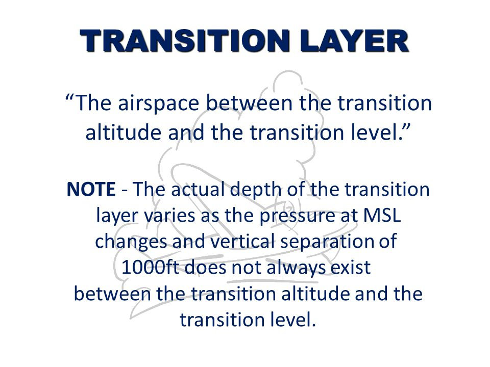 TRANSITION LAYER The airspace between the transition