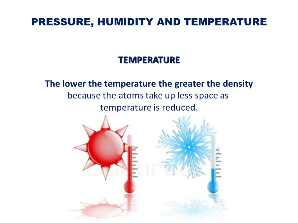 PRESSURE, HUMIDITY AND TEMPERATURE