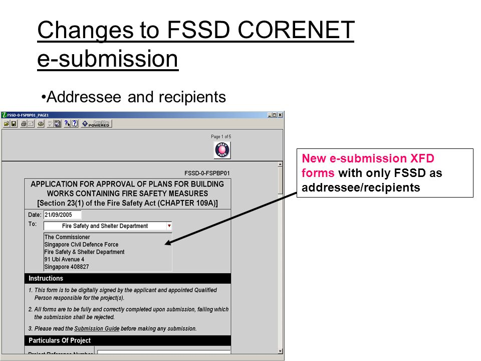 Changes to FSSD CORENET e-submission