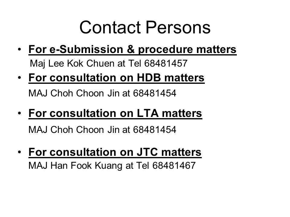 Contact Persons For e-Submission & procedure matters