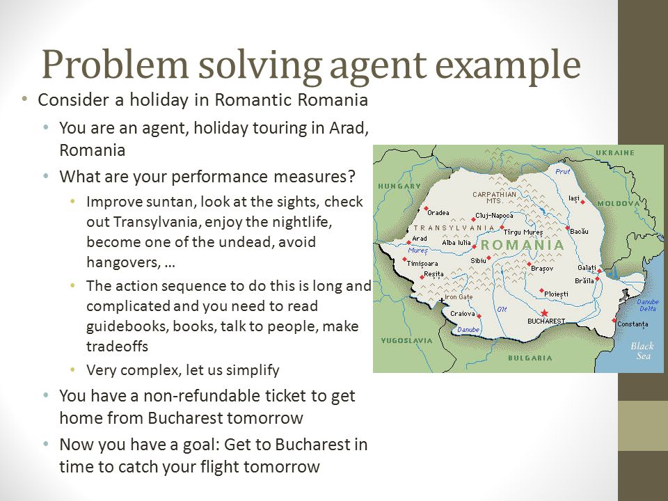 Problem solving agent example