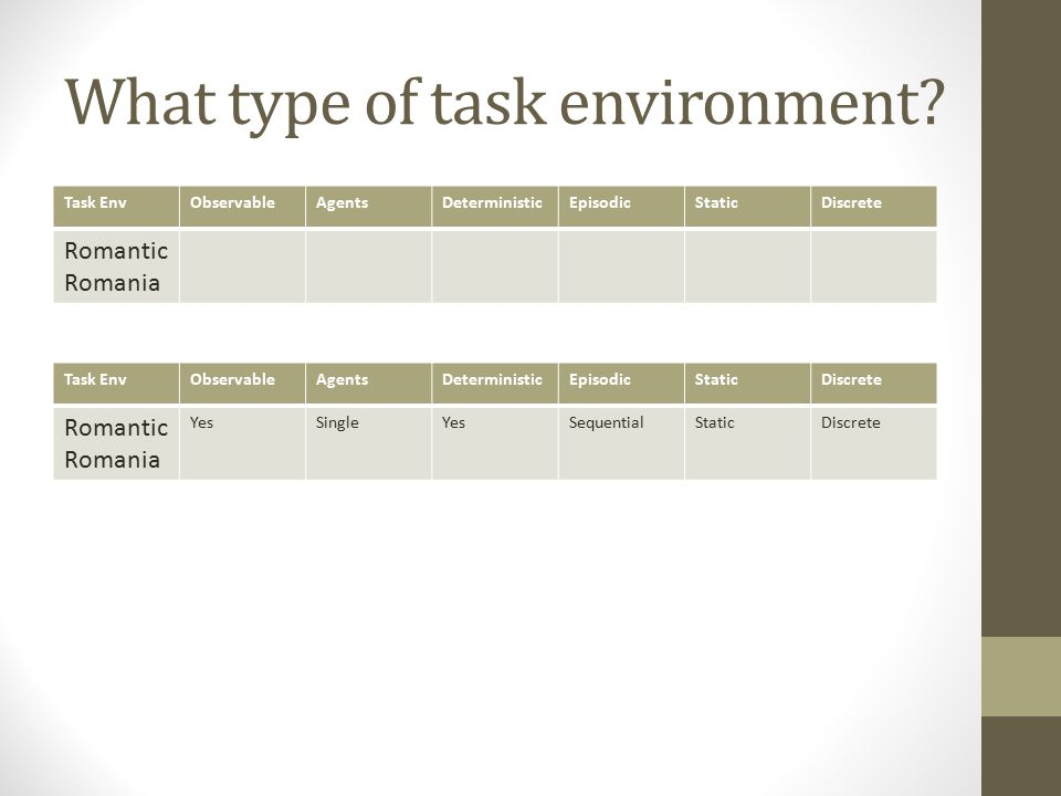 What type of task environment