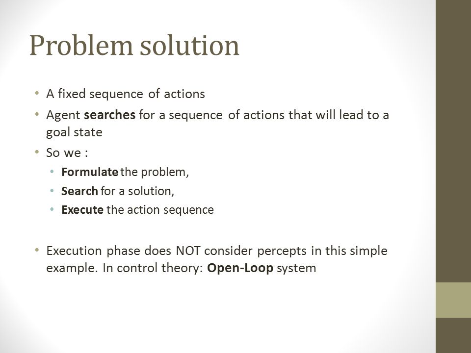 Problem solution A fixed sequence of actions