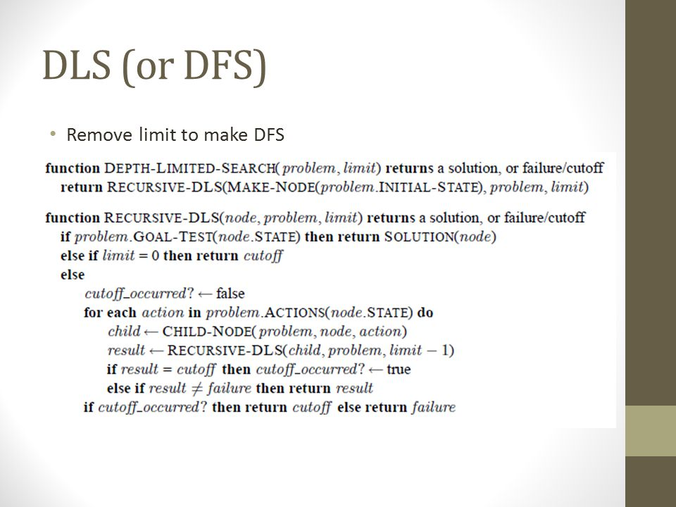 DLS (or DFS) Remove limit to make DFS