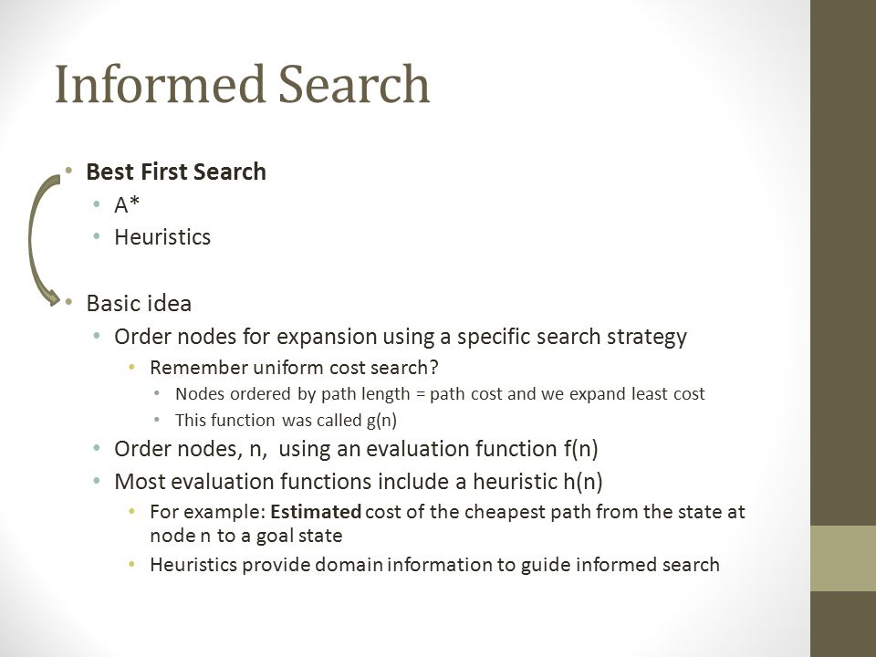 Informed Search Best First Search Basic idea A* Heuristics