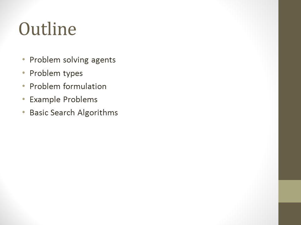 Outline Problem solving agents Problem types Problem formulation
