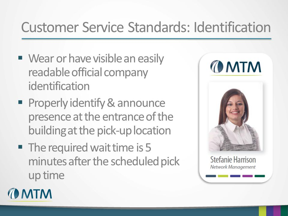 Customer Service Standards: Identification