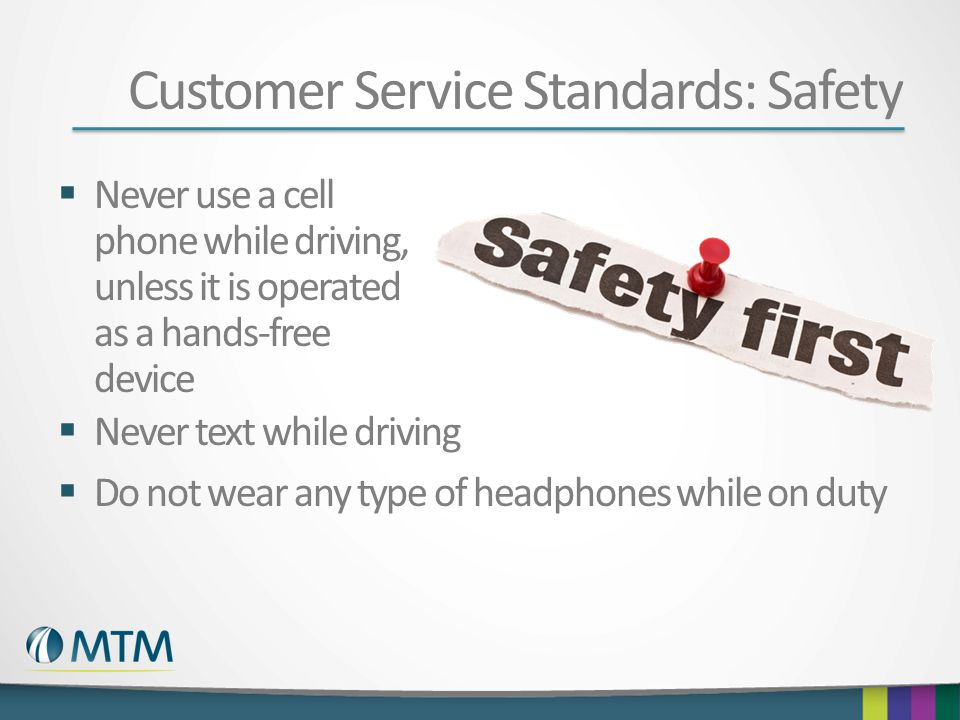 Customer Service Standards: Safety
