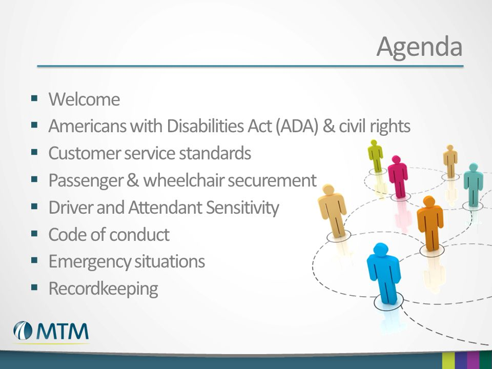 Agenda Welcome Americans with Disabilities Act (ADA) & civil rights