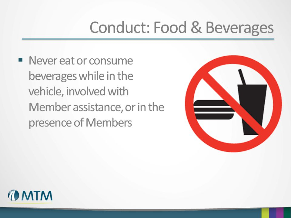 Conduct: Food & Beverages
