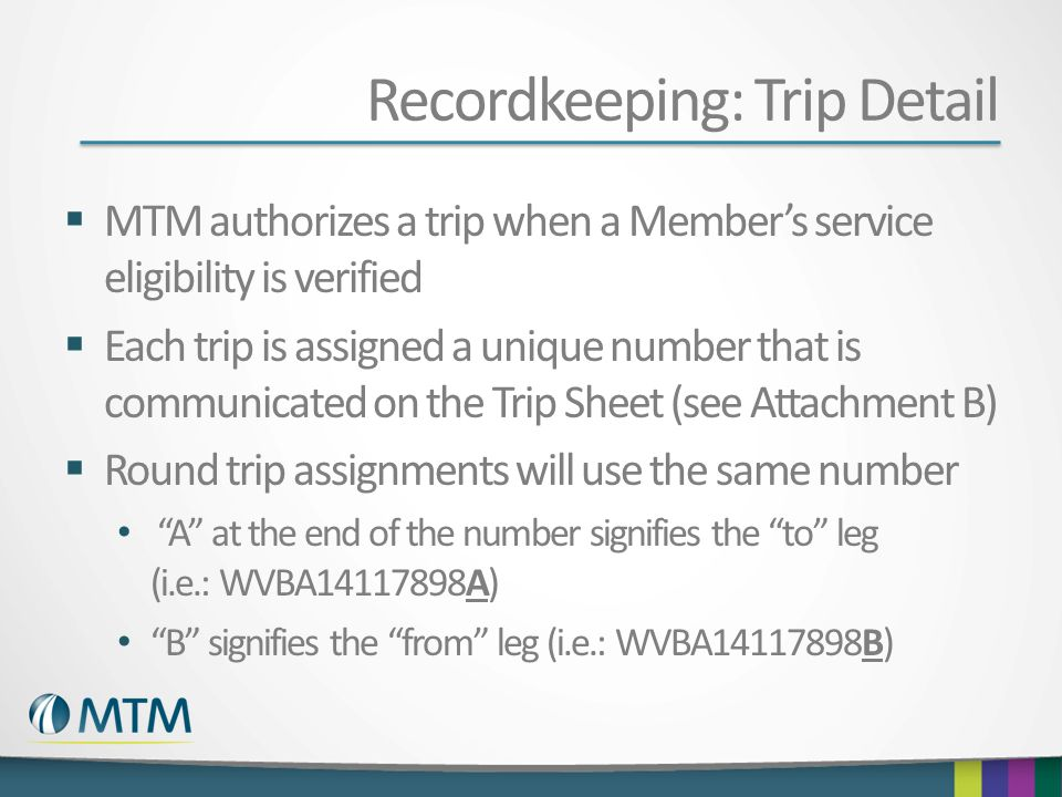 Recordkeeping: Trip Detail