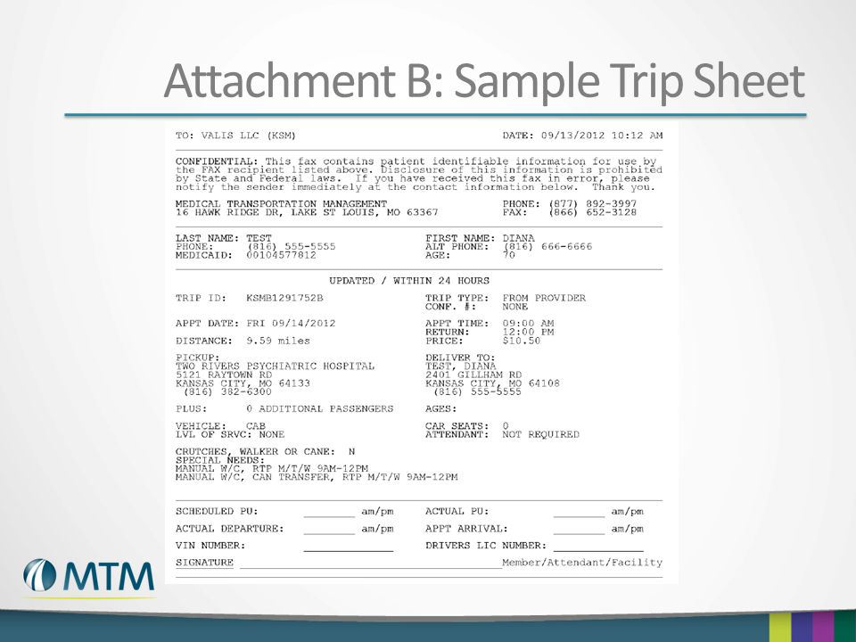 Attachment B: Sample Trip Sheet