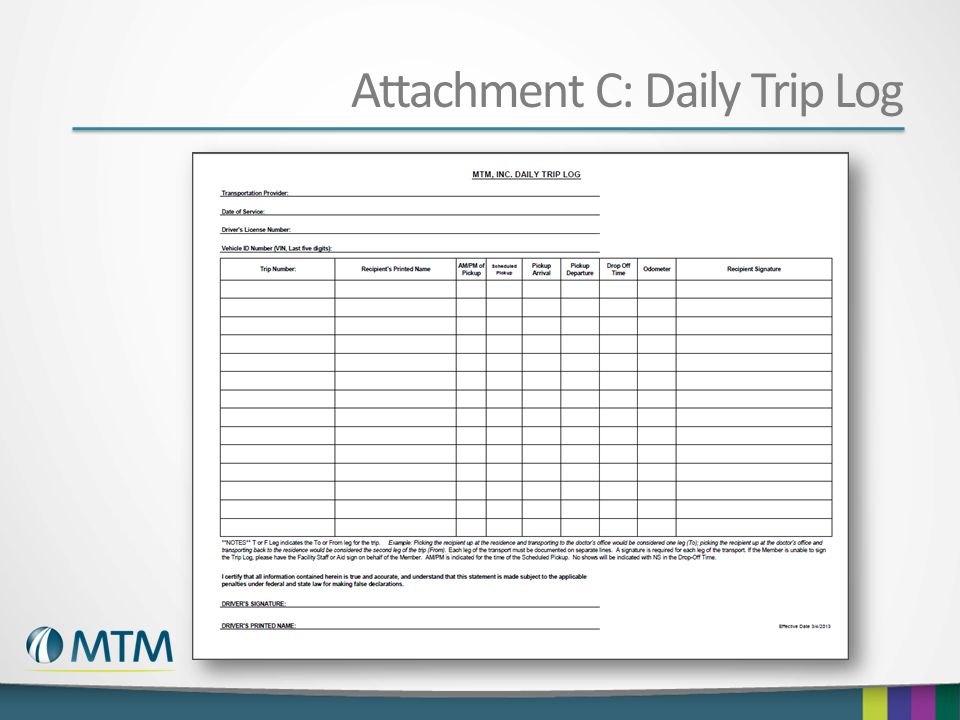 Attachment C: Daily Trip Log