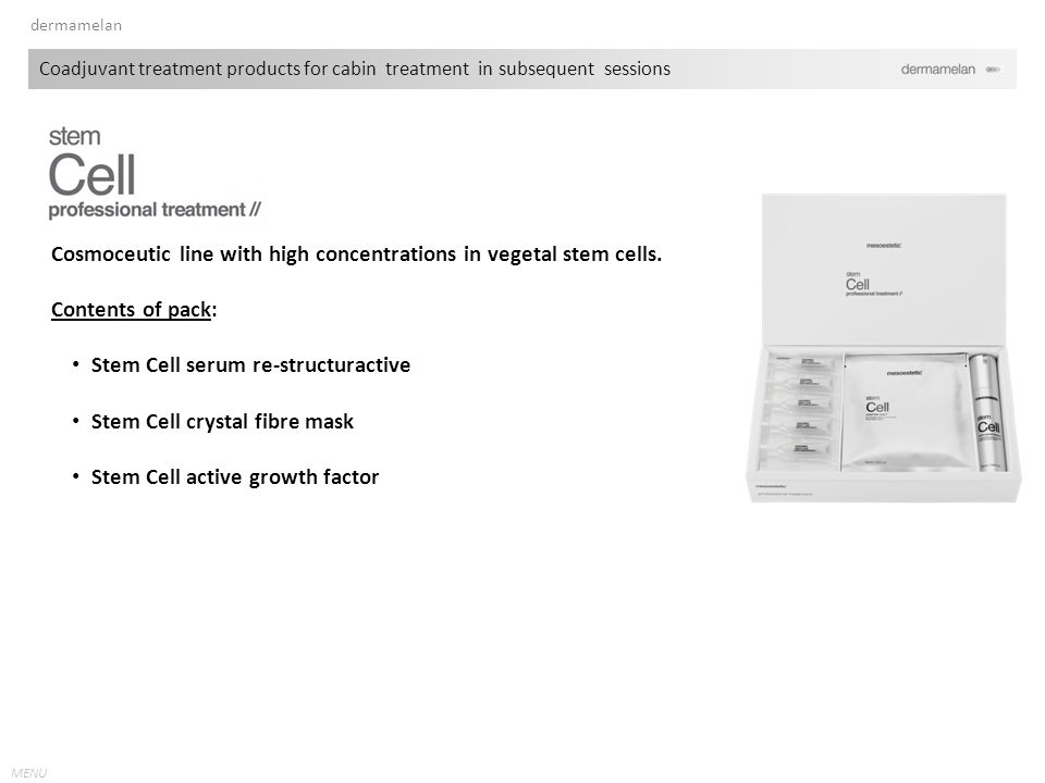 Cosmoceutic line with high concentrations in vegetal stem cells.