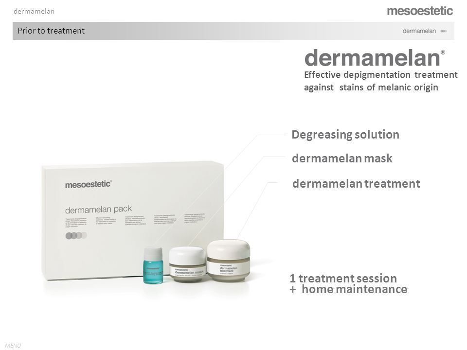 Degreasing solution dermamelan mask dermamelan treatment