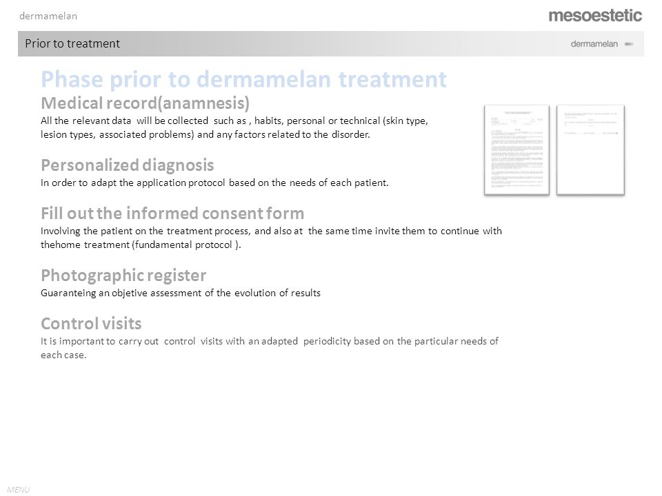 Phase prior to dermamelan treatment
