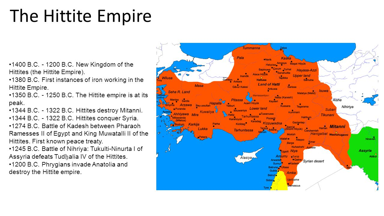 The Hittite Empire 1400 B.C. - 1200 B.C. New Kingdom of the Hittites (the Hittite Empire).