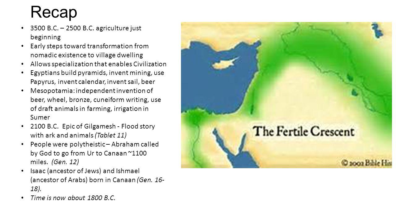 Recap 3500 B.C. – 2500 B.C. agriculture just beginning