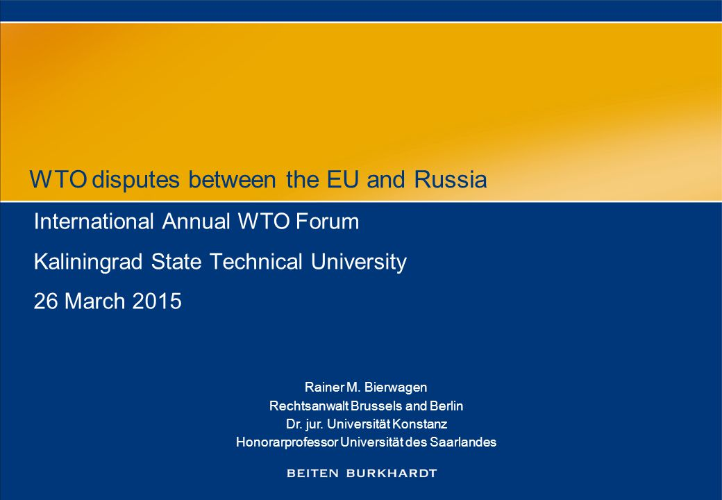 WTO disputes between the EU and Russia