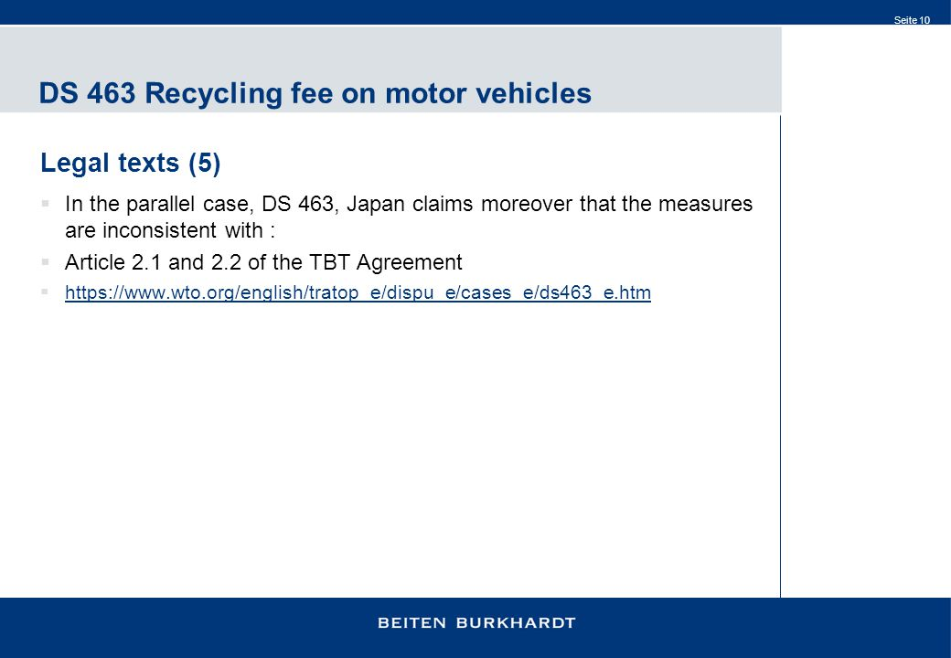 DS 463 Recycling fee on motor vehicles