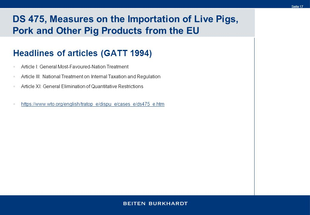 DS 475, Measures on the Importation of Live Pigs, Pork and Other Pig Products from the EU