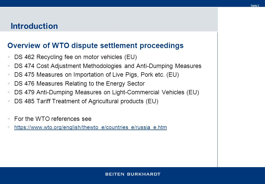 Introduction Overview of WTO dispute settlement proceedings