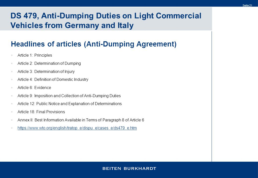 DS 479, Anti-Dumping Duties on Light Commercial Vehicles from Germany and Italy
